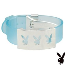 Playboy Bracelet Triple Bunny Logo Stainless Steel Blue Silicone Adjustable RARE - $39.69