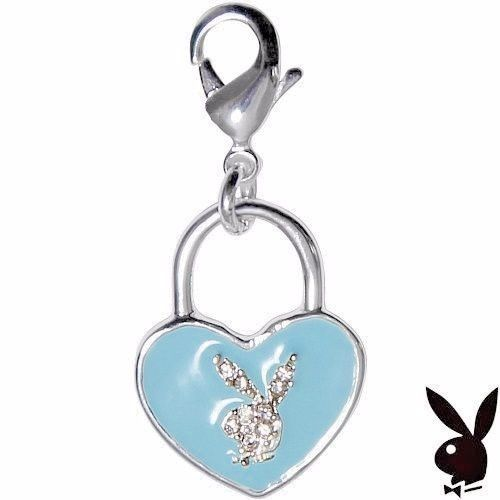 Playboy Charm Bunny Heart Shaped Lock Blue Enamel Swarovski Crystals Clip On HTF