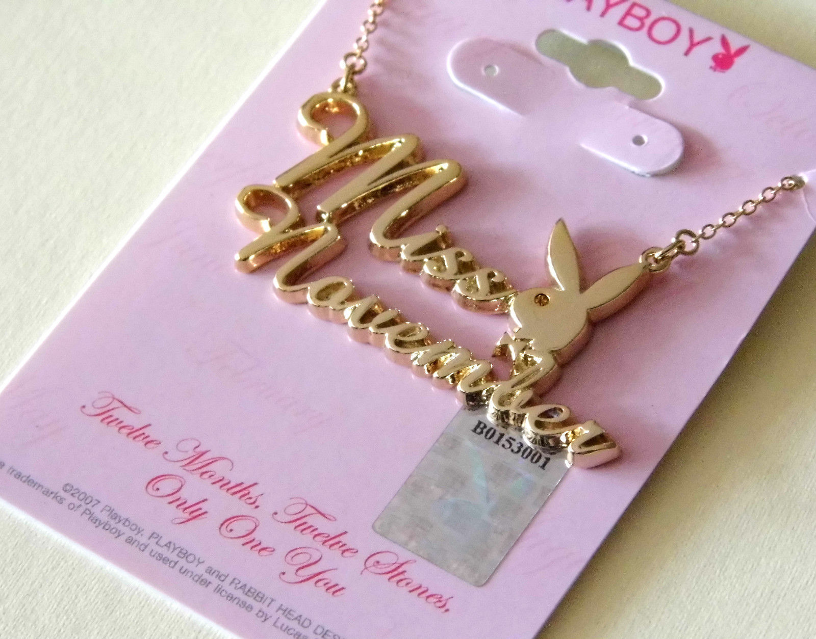 Playboy Necklace MISS NOVEMBER Bunny Pendant Gold Plated Playmate of the Month