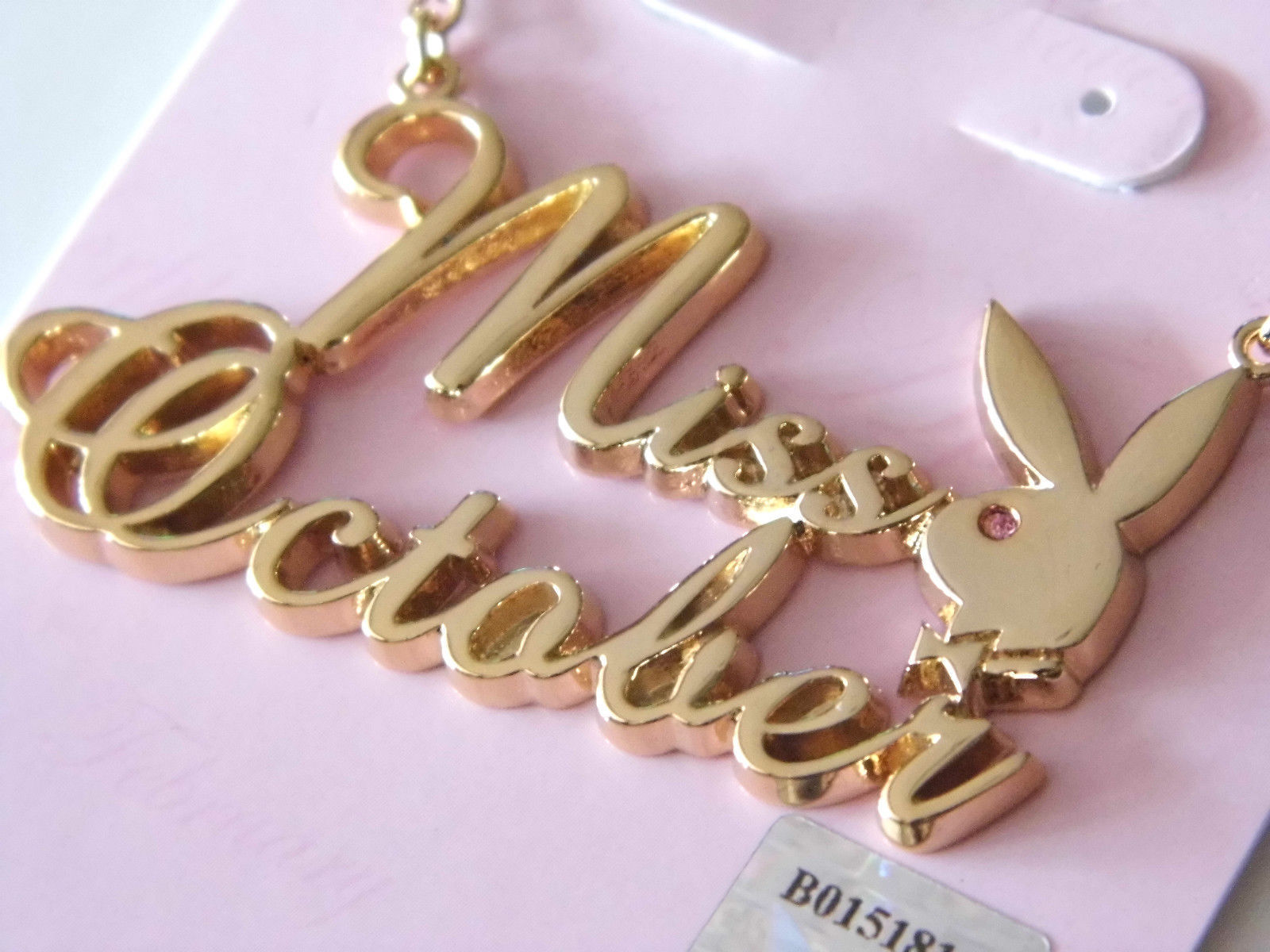 Playboy Necklace MISS OCTOBER Bunny Pendant Gold Plated Playmate of the Month