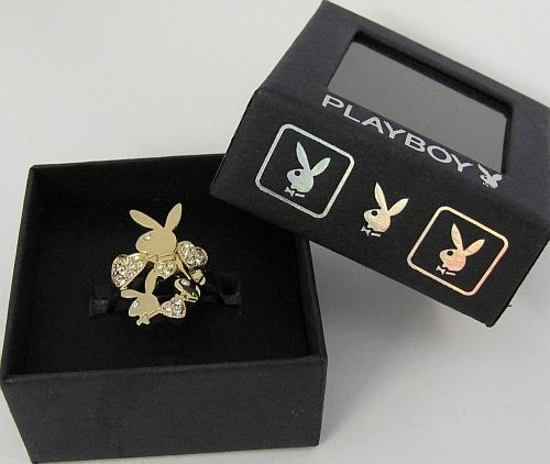 Playboy Ring Hearts Bunny Logo Swarovski Crystals Gold Plated Size 7.5 RARE HTF