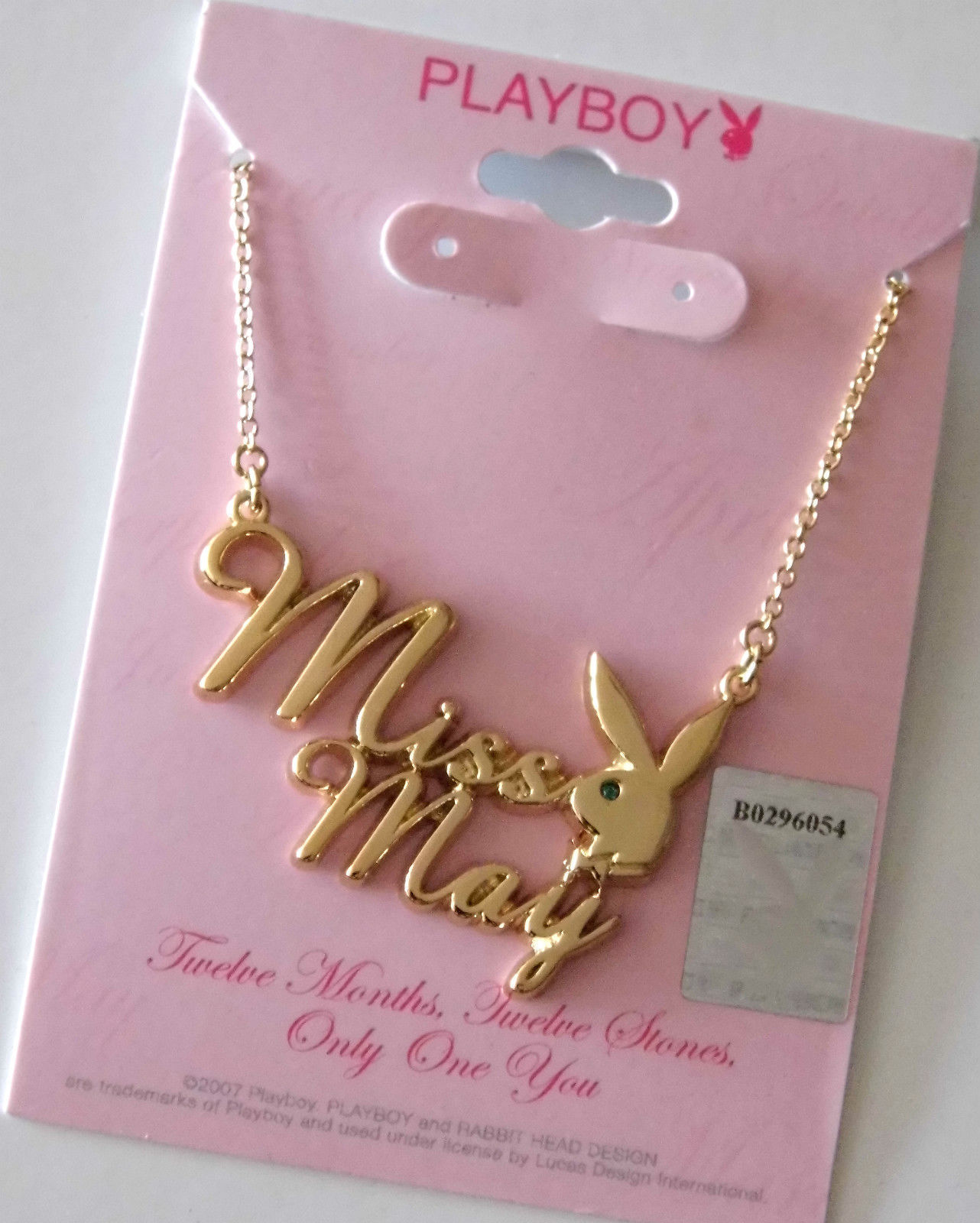Playboy Necklace MISS MAY Bunny Logo Pendant Gold Plated Playmate of the Month