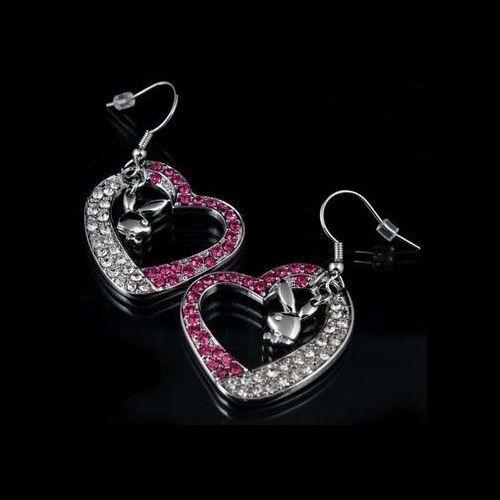 Playboy Earrings Bunny Heart Charms Dangle Pink Swarovski Crystals Box RARE HTF