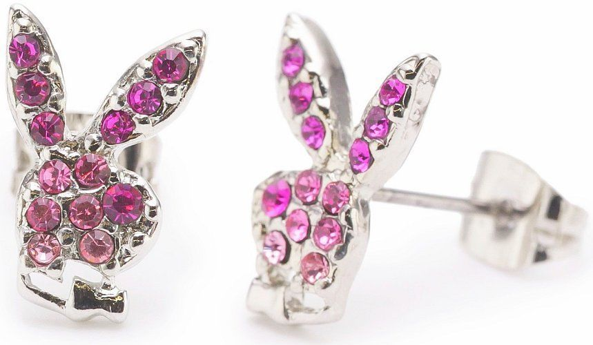 Playboy Earrings Bunny Logo Studs Pink Swarovski Crystals Platinum Plated RARE