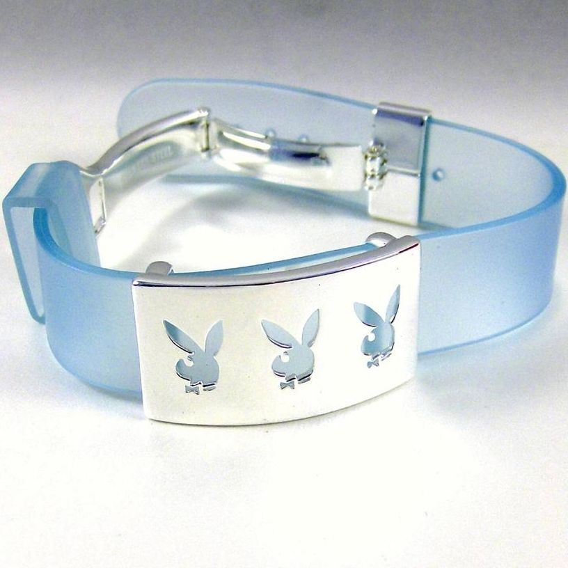 Playboy Bracelet Triple Bunny Logo Stainless Steel Blue Silicone Adjustable RARE