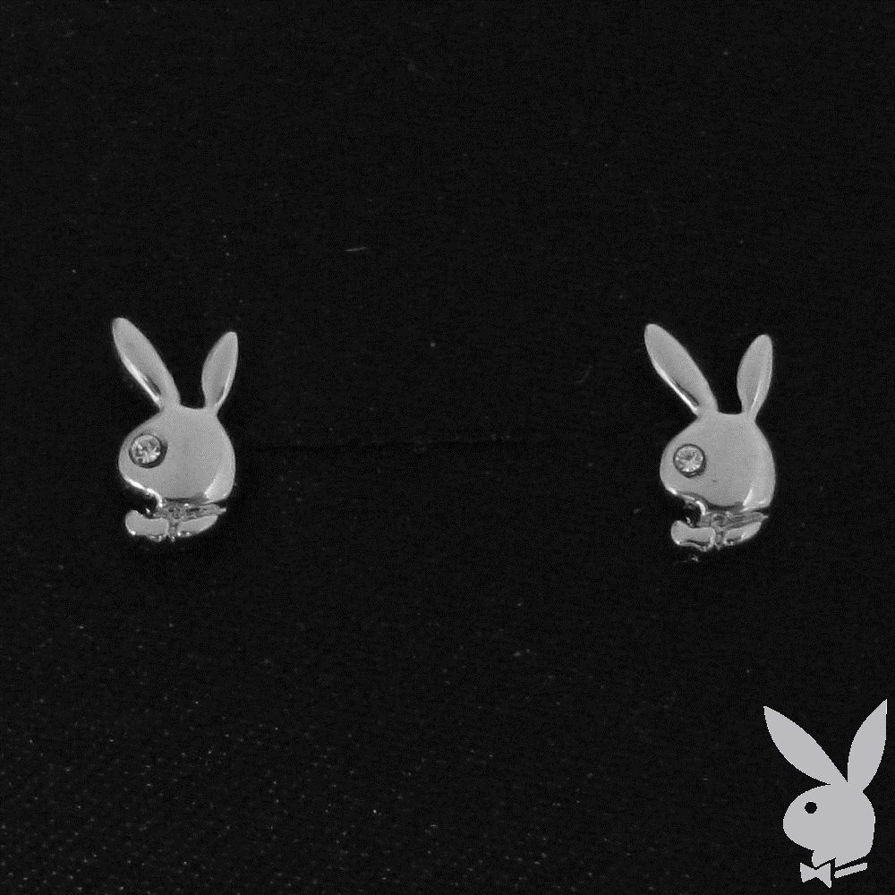 Playboy Earrings Small Bunny Logo Studs Posts Swarovski Crystals Platinum Plated