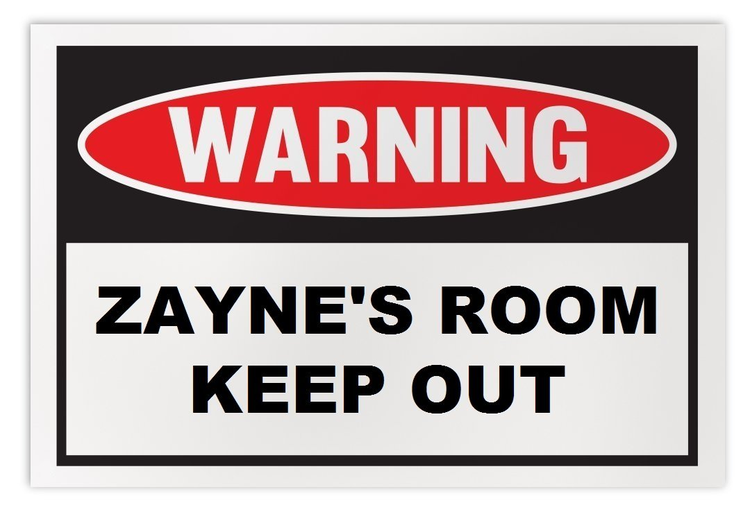 Personalized Novelty Warning Sign: Zayne's Room Keep Out - Boys, Girls, Kids, Ch