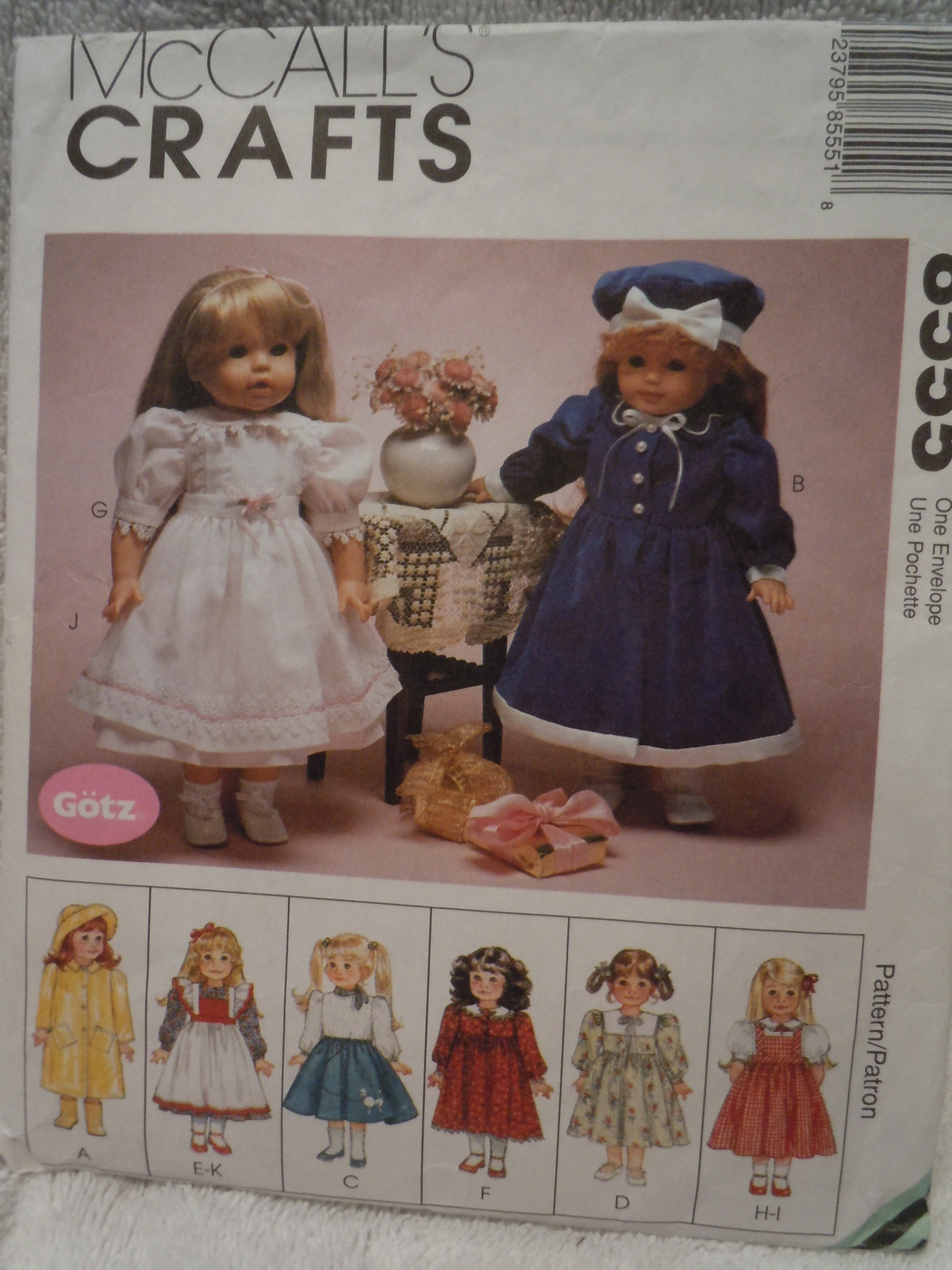 "McCall's Crafts 18"" Doll Clothes Pattern #8555 Copyright 1996"