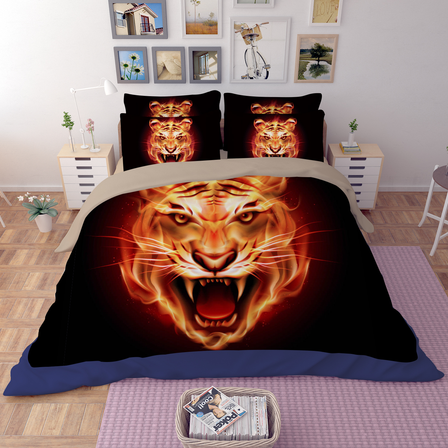 Microfiber 3D Printing Bedding Sets,Fired Tiger Bedding sets,Kid's bedding sets