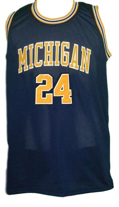 Jimmy king  24 retro college basketball jersey navy blue   1