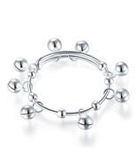 Solid 990 Silver Bells Bangle Bracelet Baby Kids Gift Adjustable Size FB... - $49.99