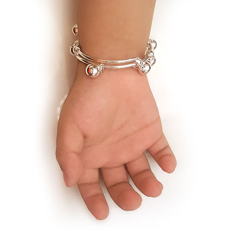 Solid 990 Silver Bells Bangle Bracelet Baby Kids Gift Adjustable Size FB8003