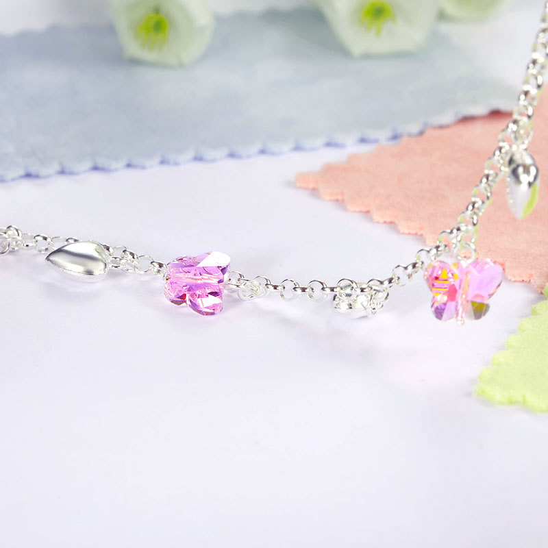 Solid 925 Sterling Silver Pink Butterfly Hearts Bracelet Baby Jewelry FB8004