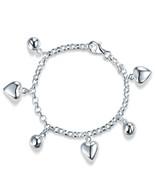 Solid 925 Sterling Silver Dangle Hearts Bracelet Baby Kids Girl Jewelry ... - $49.99