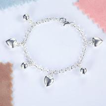 Solid 925 Sterling Silver Dangle Hearts Bracele... - $49.99