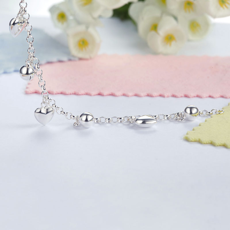 Solid 925 Sterling Silver Dangle Hearts Bracelet Baby Kids Girl Jewelry FB8005