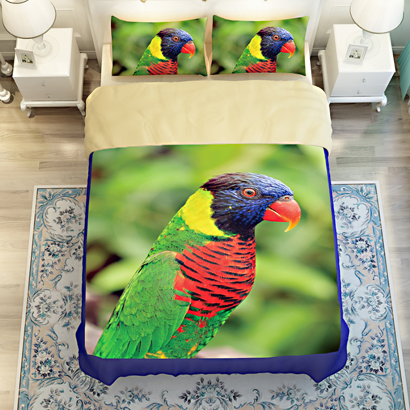 Microfiber 3D Printing Bedding Sets,Parrot Bedding sets,Kid's bedding sets