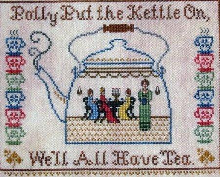 Polly's Tea Kettle kitchen cross stitch chart The Needle's Notion