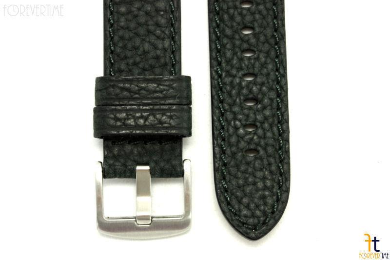24mm Negro con Textura Reloj de Pulsera Cuero Banda / Puntadas para Luminox