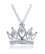 Kids Girl Crown Pendant Necklace Solid 925 Sterling Silver Jewelry FN8063 - $35.99