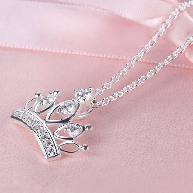 Kids Girl Crown Pendant Necklace Solid 925 Sterling Silver Jewelry FN8063