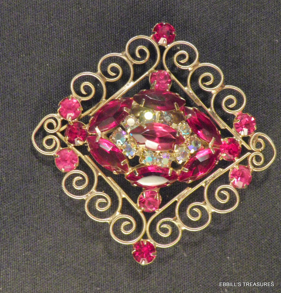 d and e gp diamond shape tiered scrolled siam red marquis crystals brooch 3982