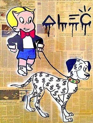 "Alec Monopoly Amazing HD Print on CANVAS Abstract Urban art Richie Rich 24x32"""