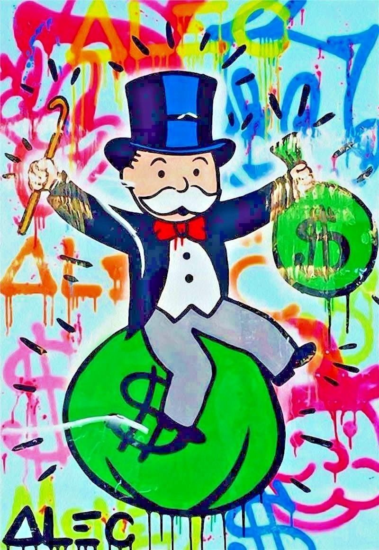 "Alec Monopoly Amazing HD print on Canvas Urban art decor Riding money 28x40"""