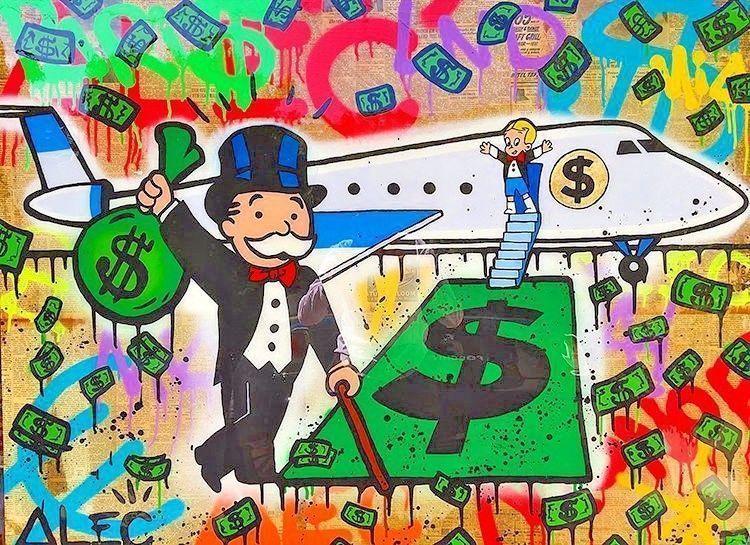 "Alec Monopoly Amazing HD print on Canvas Urban art Wall Decor Airplane 28x36"""