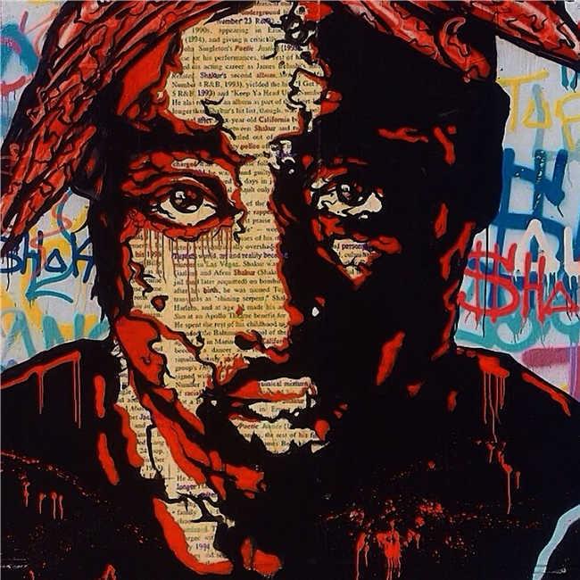 "Alec Monopoly Amazing HD print on Canvas Urban art 2PAC Portrait 28x28"""