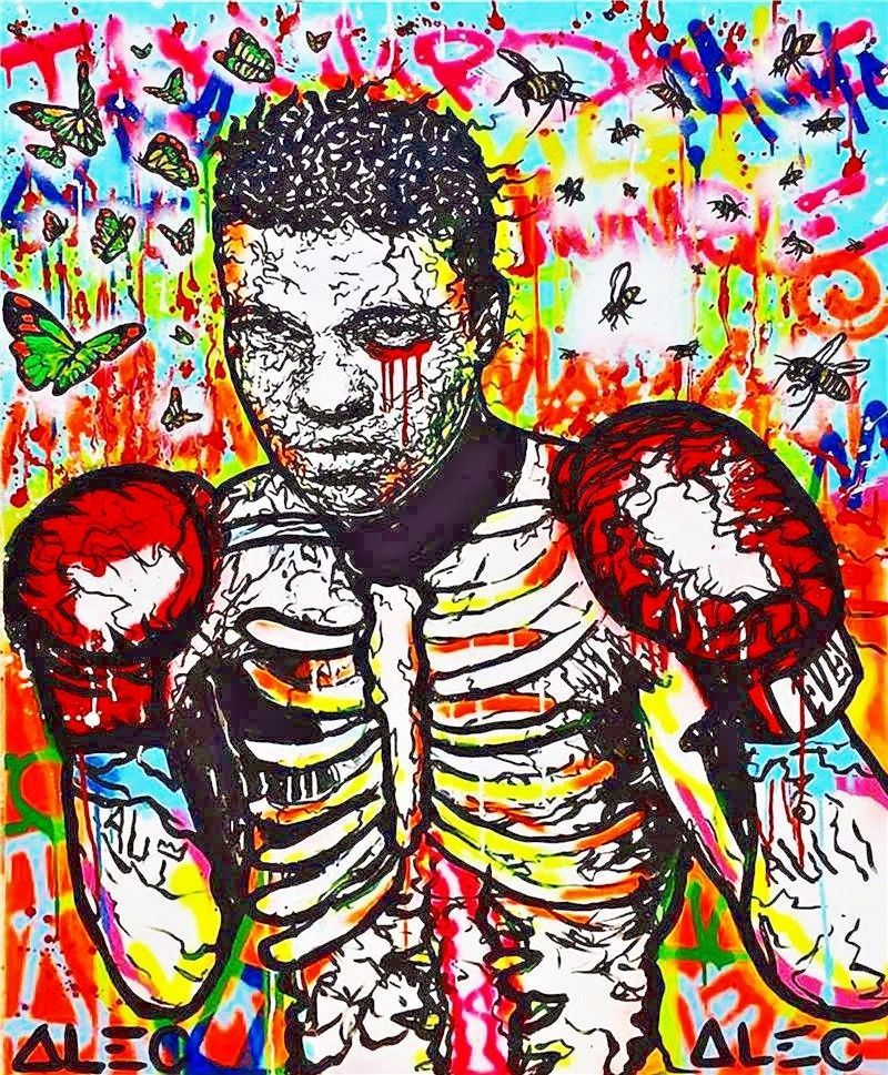 Alec Monopoly Urban art  Oil Painting on Canvas Wall Boxer Mohamed Ali 28x36""