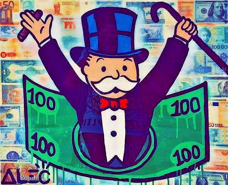 "Alec Monopoly Amazing HD print on Canvas Urban art wall decor Rich man 28x36"""