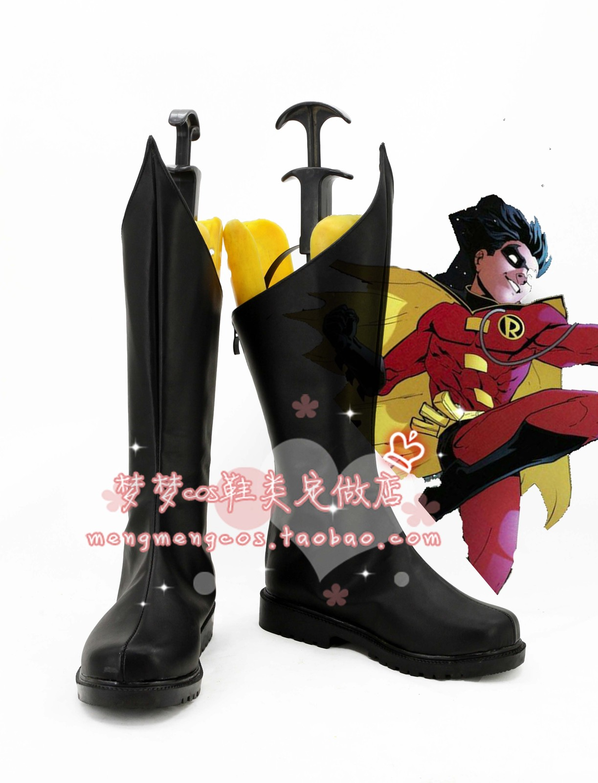 Batman Robin super heroes black cos Cosplay Shoes boots shoe boot #AT23