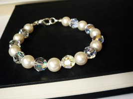 Swarovski Crystal AB Pearl Bridal Bracelet - Au... - $35.00