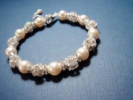 Rhinestone Swarovski Bracelet - Pearl Bridal Ad... - $31.00