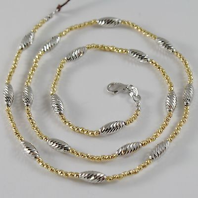 18k YELLOW WHITE GOLD CHAIN NECKLACE WORKED BRIGHT BALLS & OVALS MADE IN ITALY