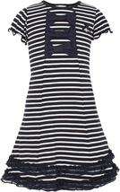 Le Chic Big Girl Tween 7-16 Navy-Blue White Stripe Bows and Ruffles Jersey Dress