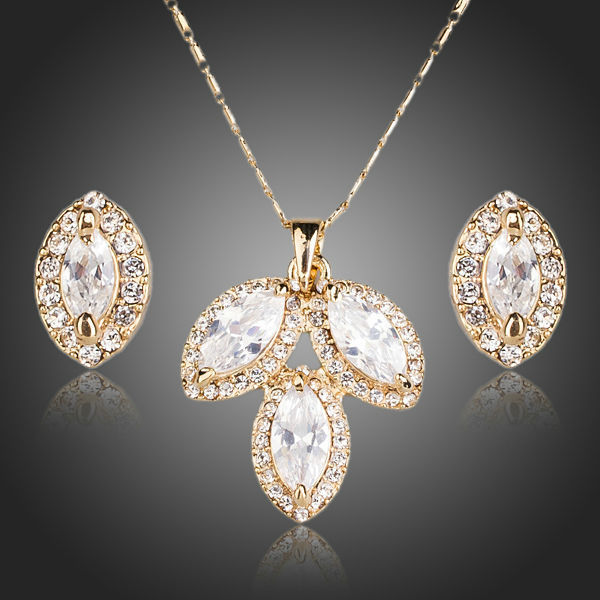 Wedding Bridal Necklace Set White Cubic Zirconia Necklace & Stud Women Earrings