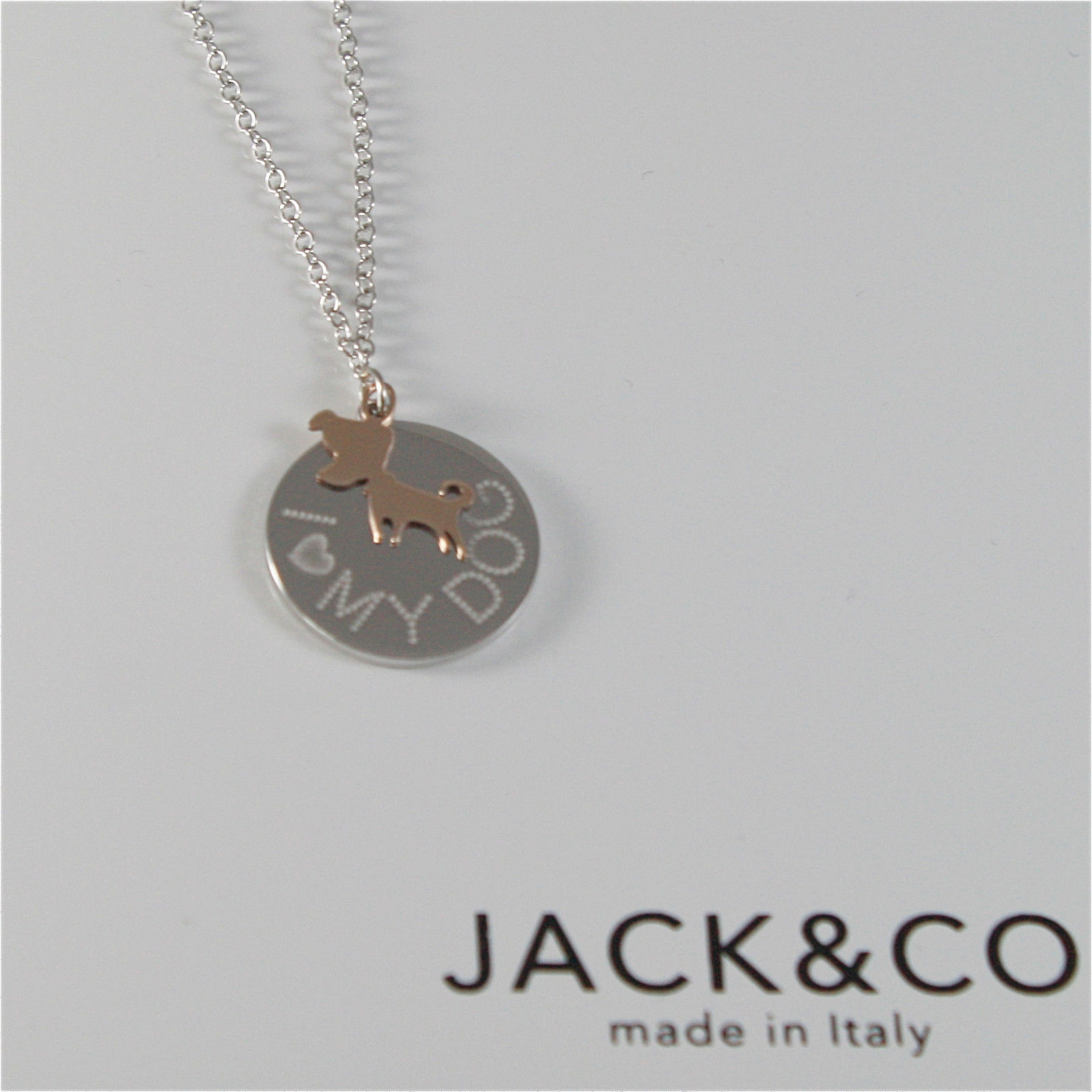 925 RHODIUM SILVER JACK&CO NECKLACE 9KT ROSE GOLD DOG JACK RUSSEL MADE IN ITALY