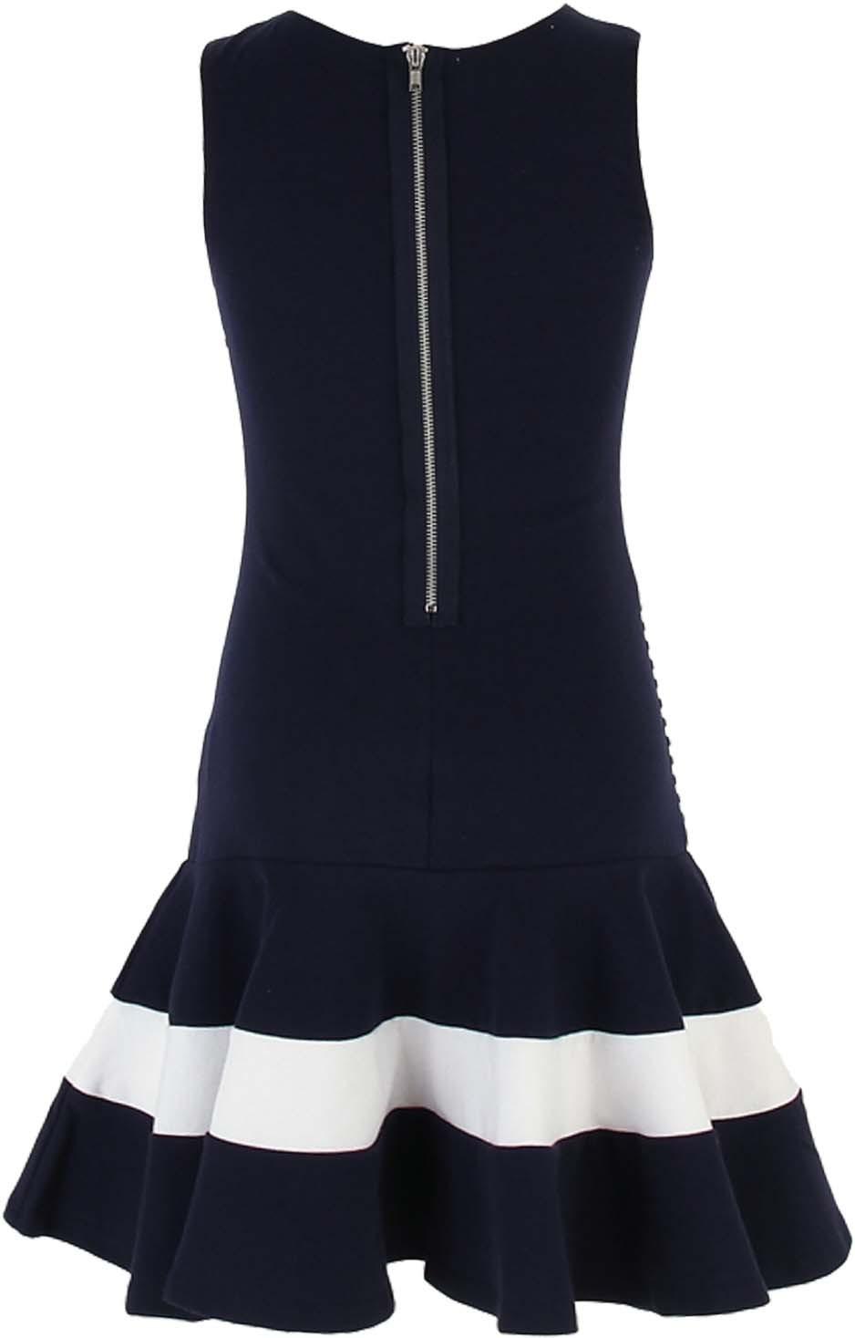 Kate Mack - Biscotti Big Girl Tween 7-16 Navy-Blue White Stripe Drop Waist Dress