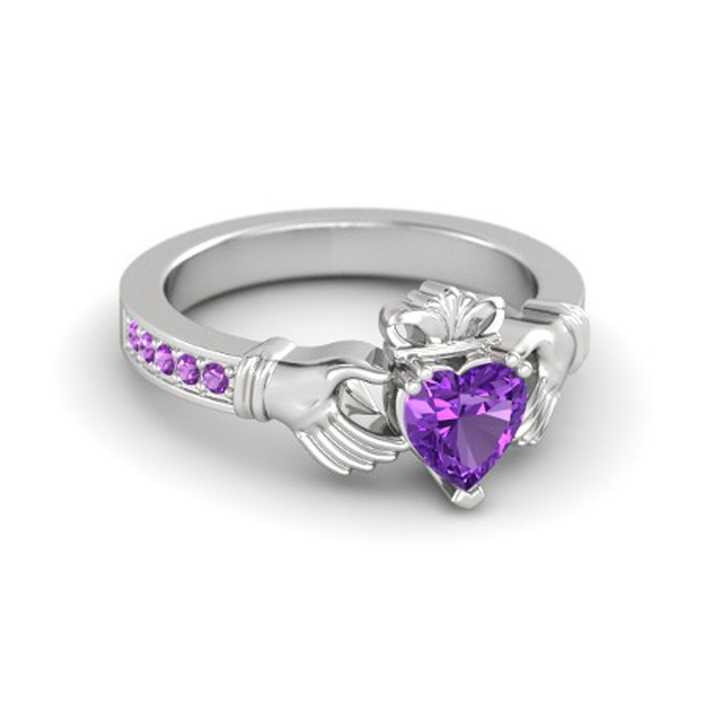 Lovely Heart Shape Purple Amethyst Crown Claddagh Promise Ring in 14K White GP