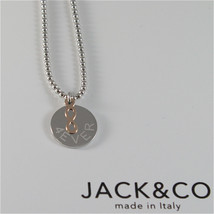 925 RHODIUM SILVER JACK&CO NECKLACE WITH 9KT ROSE GOLD INFINITY  MADE IN ITALY image 1