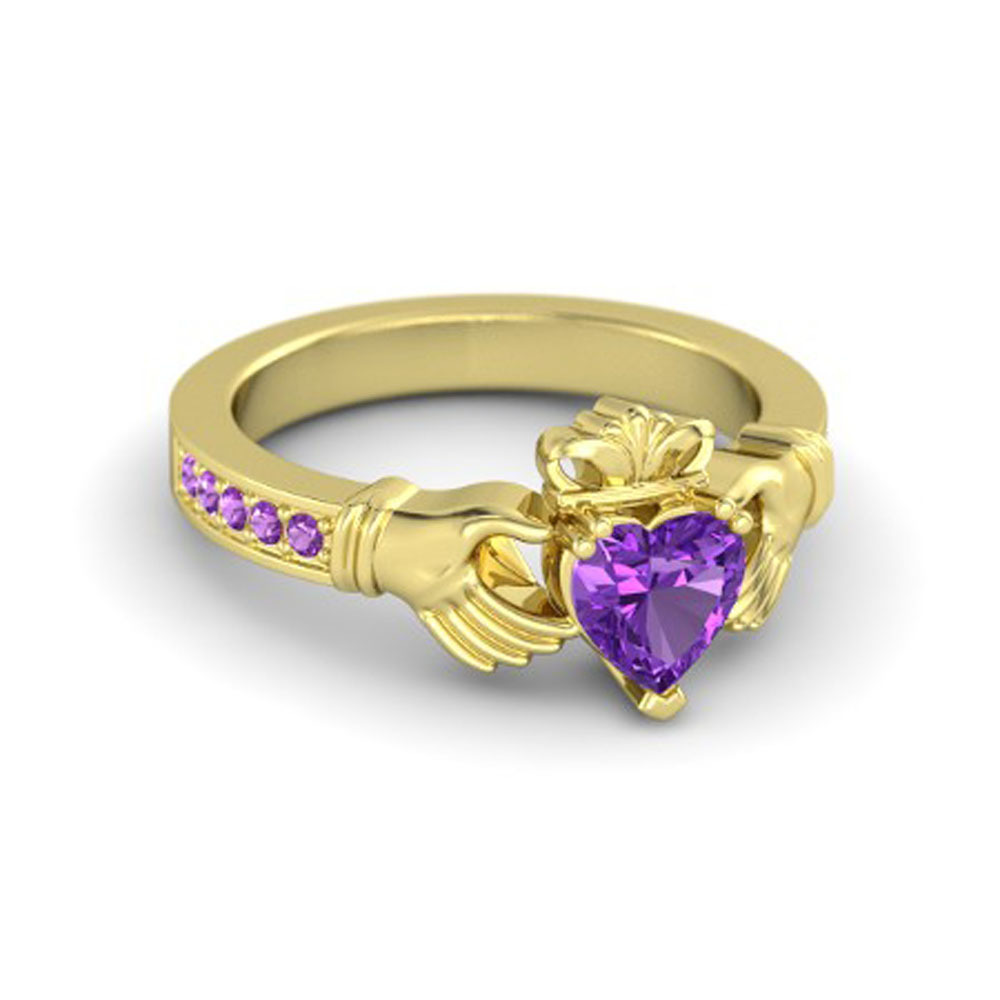 Lovely Heart Shape Purple Amethyst Crown Claddagh Promise Ring in 14K Yellow GP