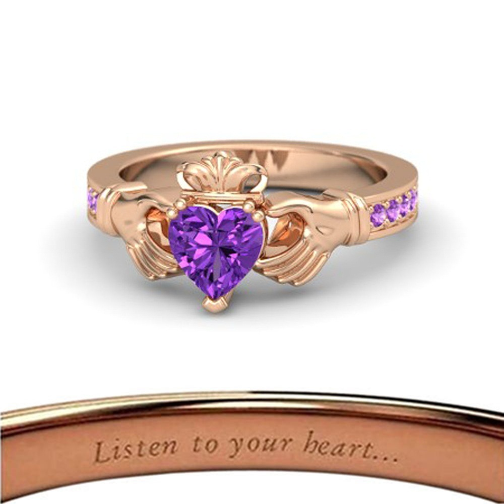 Lovely Heart Shape Purple Amethyst Crown Claddagh Promise Ring in 14K Rose GP