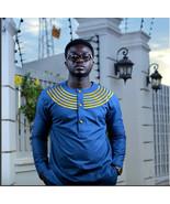 Blue & Gold Men's Long Sleeve Shirt African Clothing Men's Wear Men's Fa... - $58.95