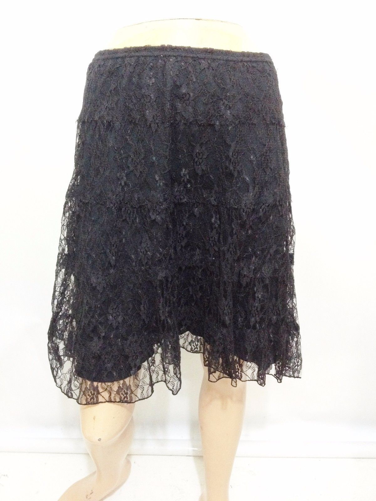 Derek Heart Womens 14 Black Lace Above-Knee Skirt Stretchy