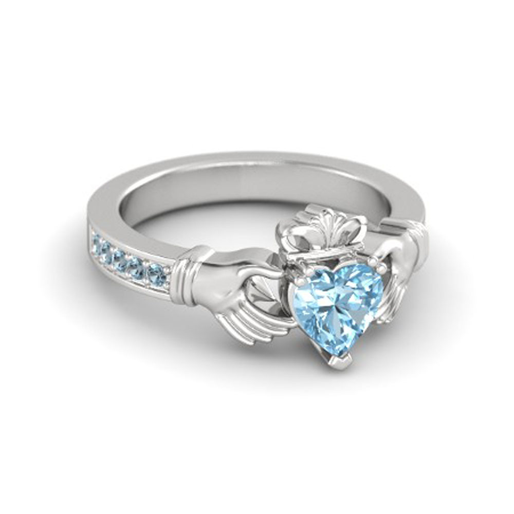 Lovely Heart Shape Blue Aquamarine Crown Claddagh Promise Ring in 14K White GP