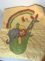 Completed Cross Stitch Baby Quilt Noah's Ark Yellow Rainbow Animals - $38.69