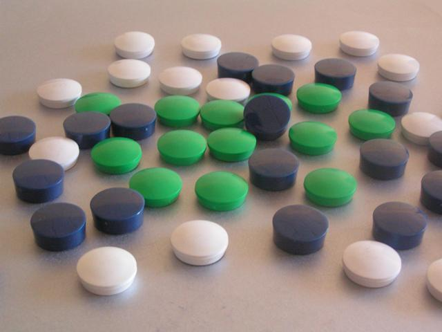 SALE - 263 Memo Magnets, Round Magnets, Planner Magnets - Blue White Green 30mm
