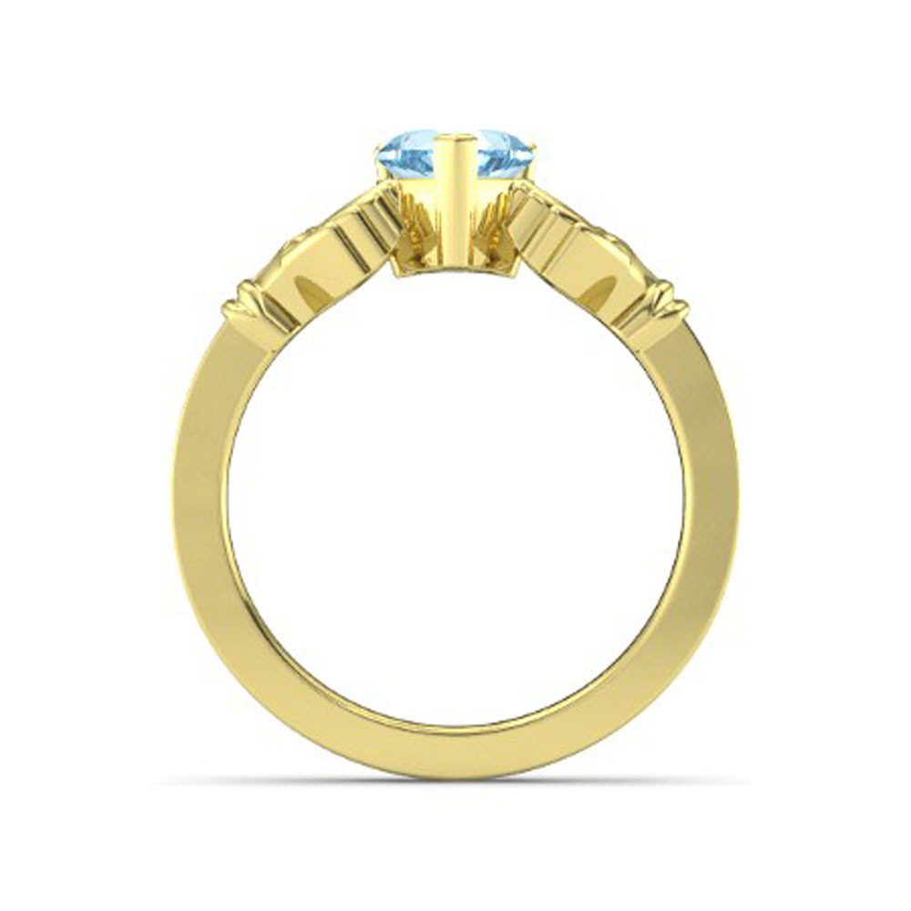 Lovely Heart Shape Blue Aquamarine Crown Claddagh Promise Ring in 14K Yellow GP